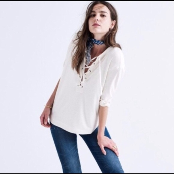 Madewell Tops - Madewell Lace-Up Top, Cream, XS